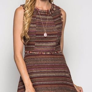 She and Sky A Line Tweed Dress Brown Size L
